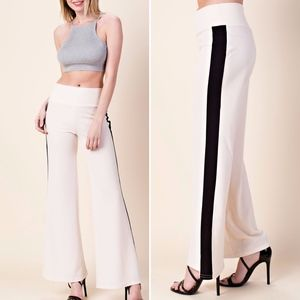✅NEW ARRIVAL➡️White Wide Leg Color-block Pants